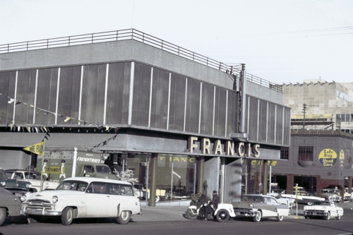Francis Auto Sales at 1505 SW 6th Avenue in Portland c.1956. University of Oregon Photograph.