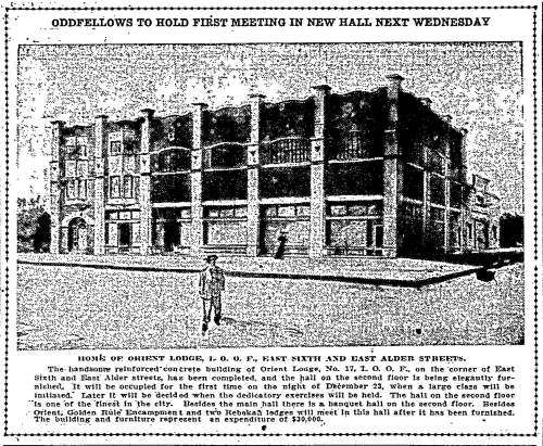 Oregonian article from December 20, 1908, announcing the first meeting to be held at the new I.O.O.F. Orient Lodge.