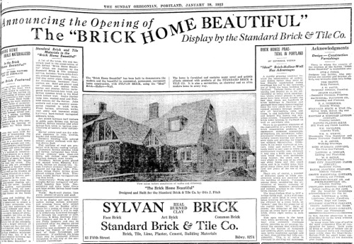 """The """"Brick Home Beautiful"""" as advertised in the January 28, 1923 Oregonian. For homeowner privacy concerns, this image was slightly edited to remove the address."""