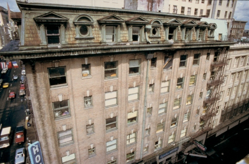 Detail of Cornelius Hotel roof (c.1986). Courtesy of University of Oregon Libraries.