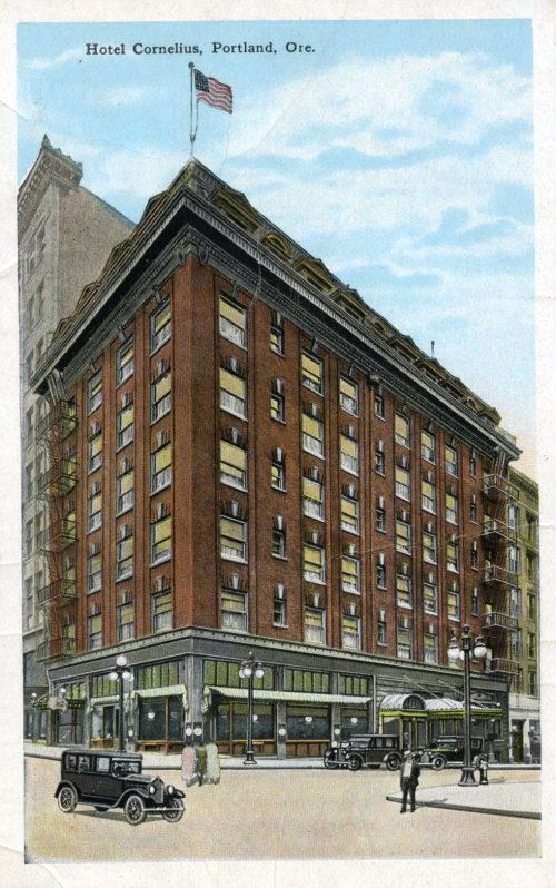 C.1920 postcard of the Cornelius Hotel from the Architectural Heritage Center collections.