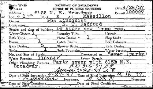 Plumbing permit from 1937, showing Gus Lindquist as the property owner. You can often learn the name of the home builder by looking at permits like this one. Courtesy of PortlandMaps.com