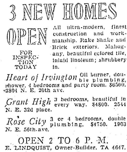 Advertisement for three new Lindquist built homes.  Oregonian October 29, 1933.