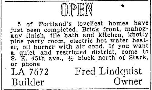 Advertisement for Lindquist built homes from the Oregonian, June 2, 1940.  The Lindquists built homes in several Portland neighborhoods.