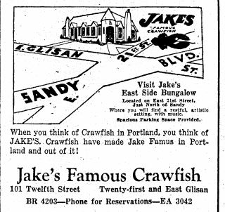 Advertisement for Jake's East Side Bungalow. Source: Oregonian June 11, 1930.