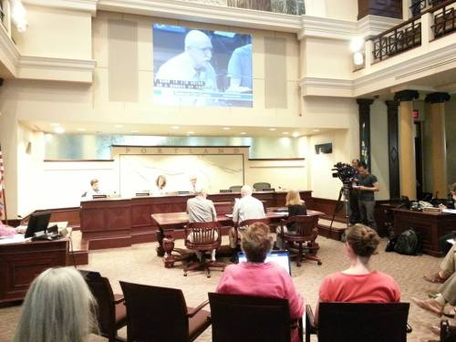 Fred Leeson, Jim Heuer, and Cathy Galbraith testifyiing to City Council on the demolition issue.