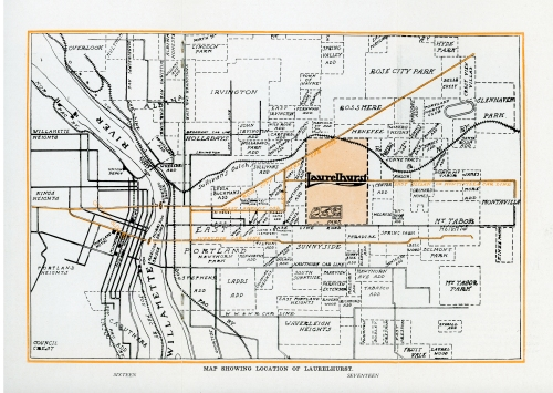 c.1912 map of the Laurelhurst neighborhood. Source: Architectural Heritage Center