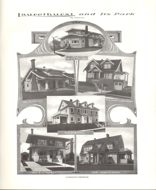 Several Laurelhurst homes from the booklet Laurehurst and Its Park c.1916. Source: Architectural Heritage Center